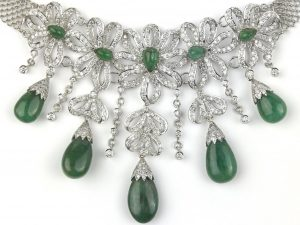 Estate Jewelry Pieces at JWO Jewelers can include beautiful diamond and emerald necklaces from a specific time period.