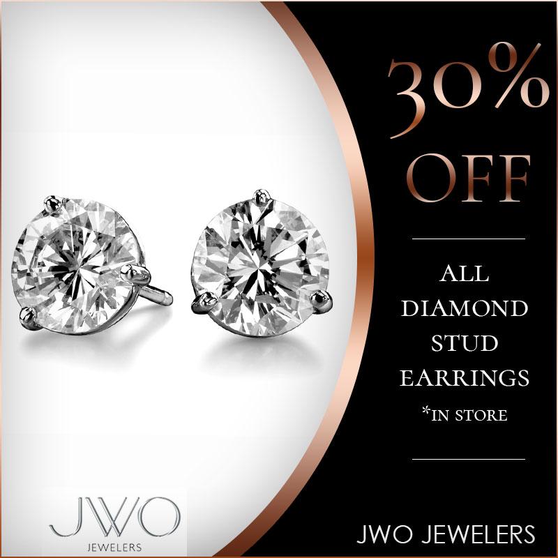 30% Off All Diamond Stud Earrings