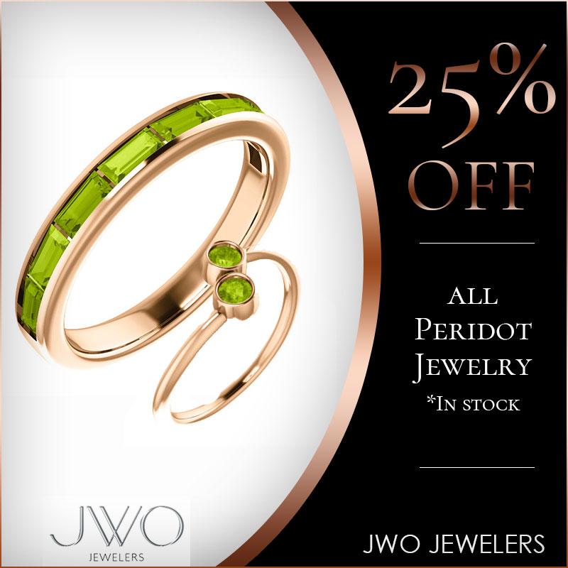 25% Off All Peridot Jewelry