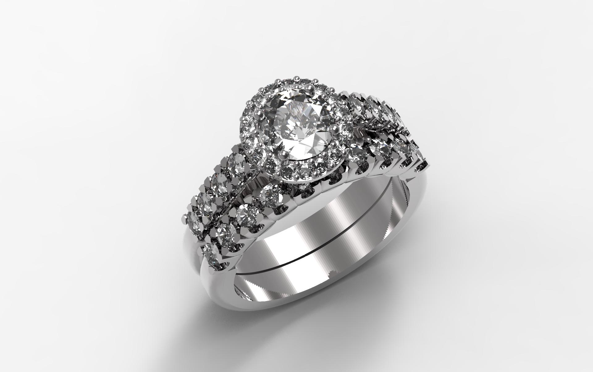Custom Engagement Ring With Brilliant Round Center Diamond And Stones Matching Wedding