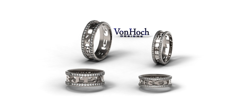 Von Hoch Design Honor-Ring Wedding Band set in platinum and channel set diamonds, also available in 14 karat or 18 karat yellow , white or rose gold, as well as two-tone