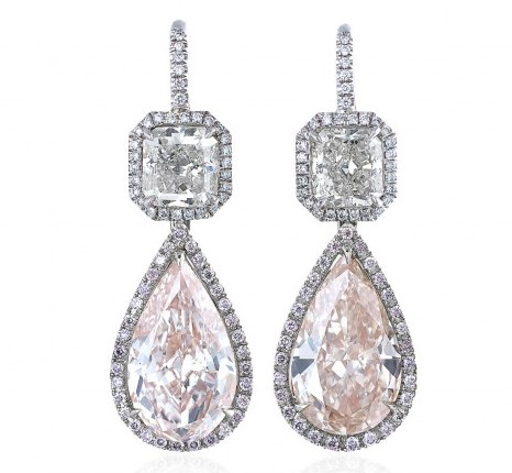 Custom Diamond Dangle Earrings In A Halo Style Setting Set Platinum
