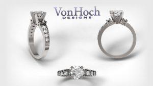 Von Hoch Designs 14k White Gold Diamond Engagement Ring