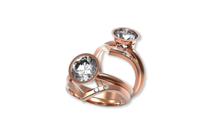 Rose Gold Engagement-Wedding Set