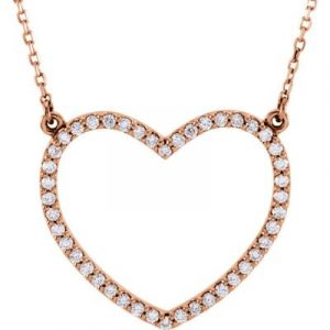Valentines Jewelry Gift Ideas include this Stuller Diamond Heart Set in Rose Gold