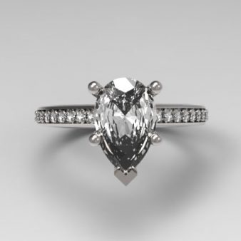 Pear-Shaped Diamond Custom Diamond Engagement Ring set in Platinum with 1.5 Carat Pear Center Diamond & Round Side Stones
